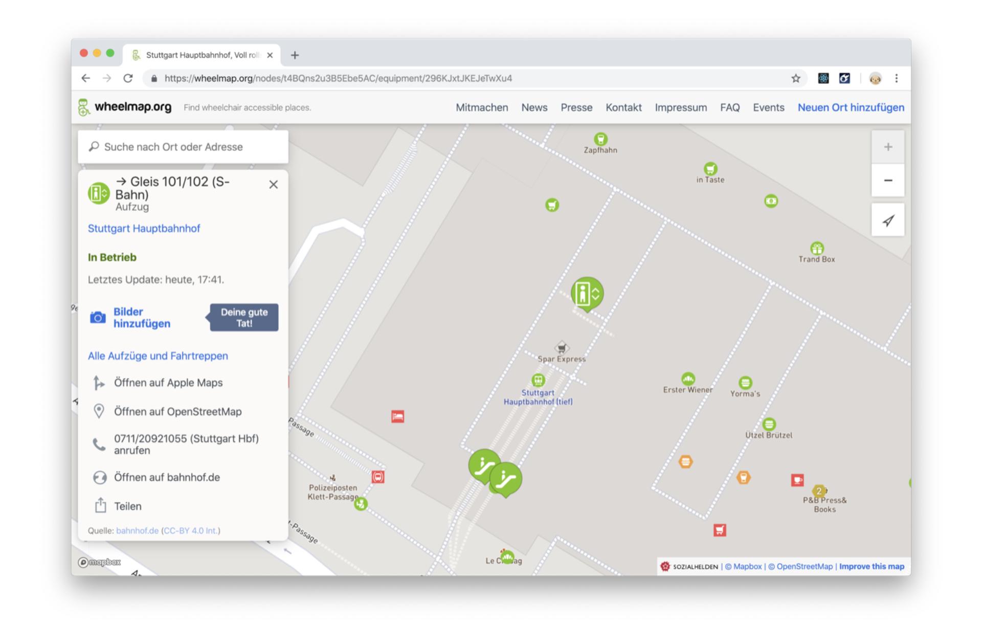 In der Online-Karte Wheelmap sind rollstuhlgerechte Infrastrukturen verzeichnet, hier im Hauptbahnhof Stuttgart.