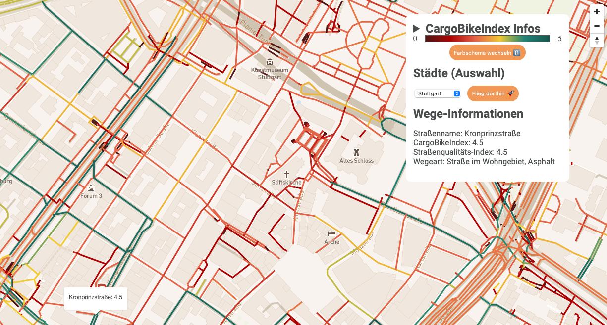 … nähere Angaben zu Straßenqualität und Wegeart. Screenshots: Emmett