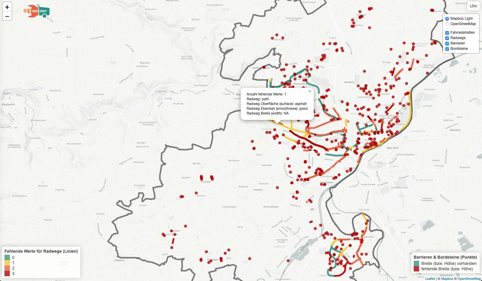 DIe Cargobike-Index-Karte von Ulm zeigt, welche Straßen und Orte beim Mapathon erfasst wurden, aber auch, wo noch welche Daten fehlen. Screenshot: Emmett
