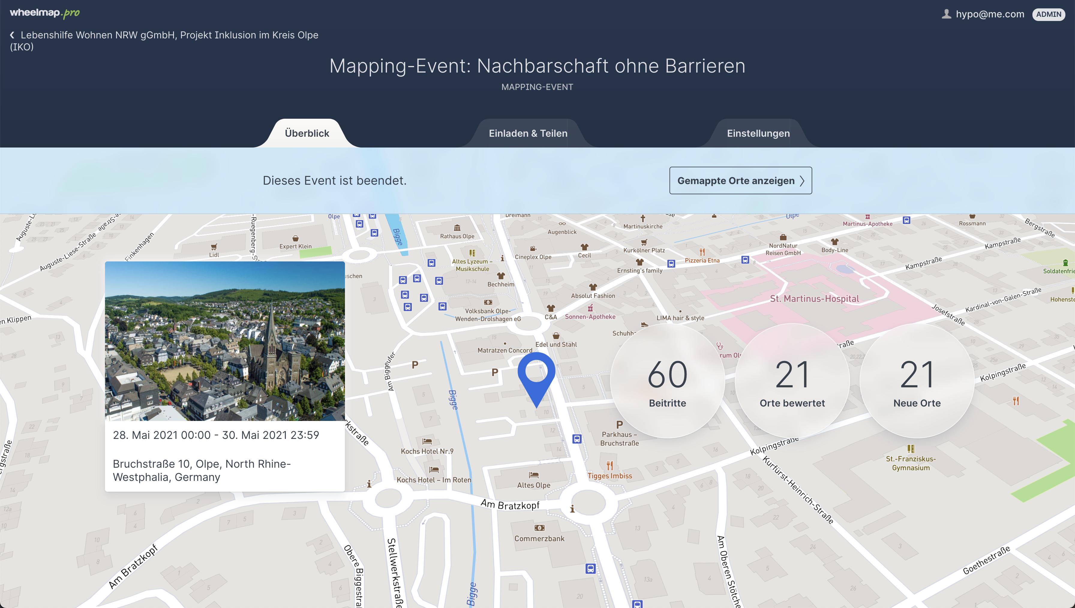 Einblick in die Ergebnisse eines Mapping-Events in Olpe. Screenshot: Wheelmap