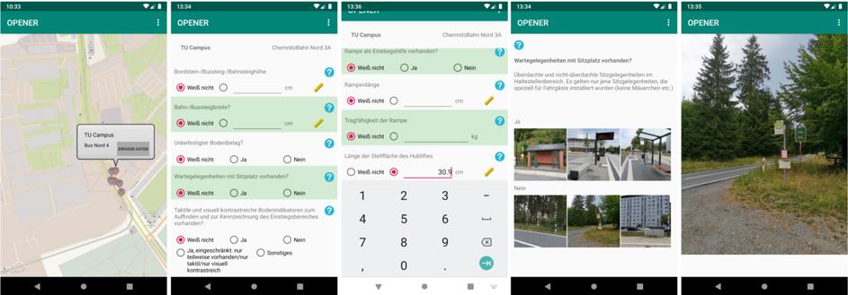 Screenshots der Opener-App zur Datenerhebung.
