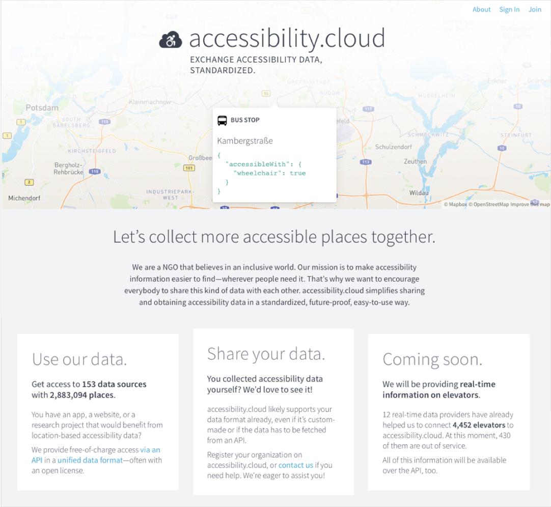 Webseite der international ausgerichteten Accessibility Cloud. Screenshot: Emmett