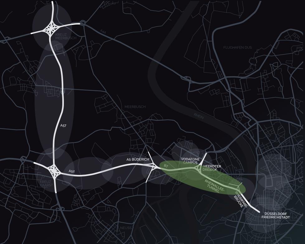 Zum Testfeld gehört der Rheinalleetunnel. Abbildung: KoMoD